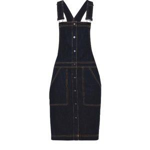 8 label Denim overall skirt w yellow stitch 60%cot
